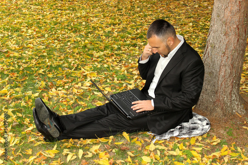 Business man working outside