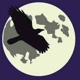 Halloween Moon and raven
