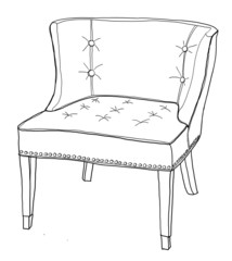Brown vintage sofa line art