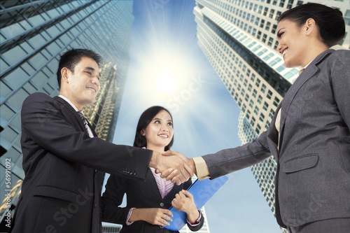 Business people congratulating for the new partnership