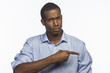 African American man pointing, horizontal