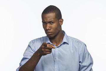 African American man pointing ahead, horizontal