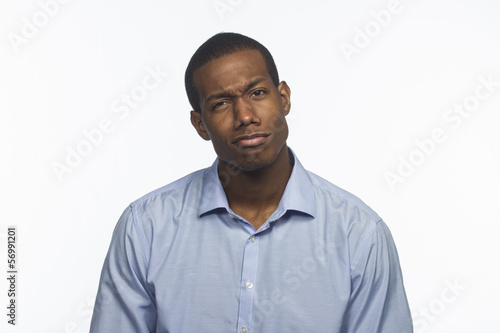 African American man thinking, reacting