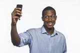 Young black man taking selfie, horizontal poster