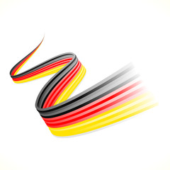 Abstract waving German flag isolated on white background
