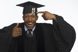 Young black college graduate with tuition debt, horizontal