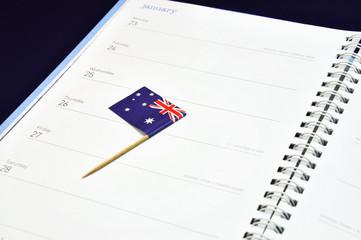 Australia Day January 26, Australian flag in diary