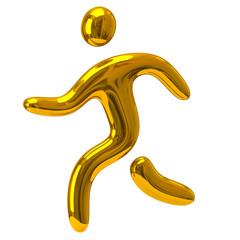 Golden running man icon