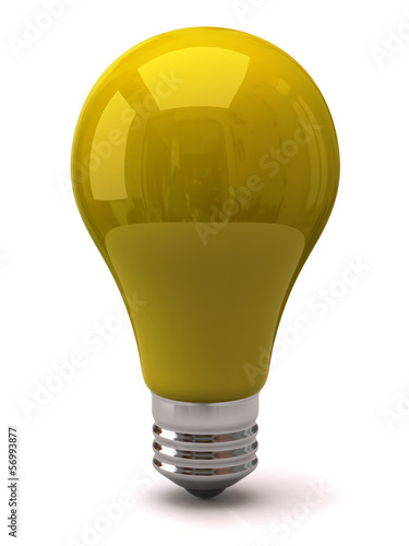 3d illustration of yellow light bulb
