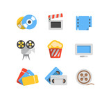 Cinema web flat design icons collection