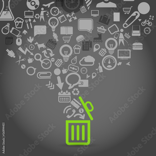 Different icons flows into garbage basket