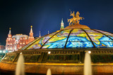 Glass cupola crowned by a statue of Saint George in Moscow