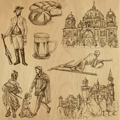 traveling Germany - hand drawings into vector set 3