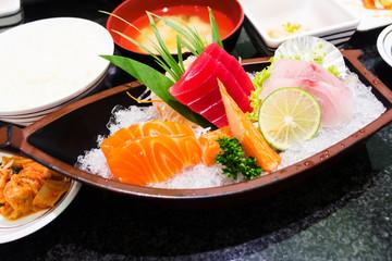Assorted Sashimi great. Salmon, octopus, shrimp, yellowtail, cla