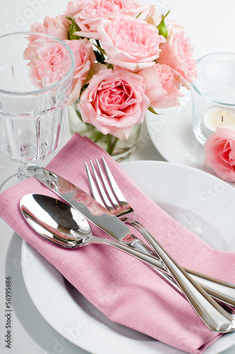 Luxurious table setting with pink roses - 56995686