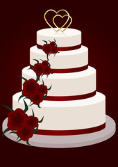 cake with red flowers