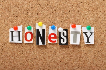The word Honesty on a cork notice board
