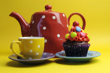 Mad Hatters tea party polka dot cupcake and teapot