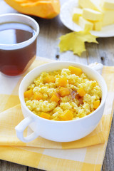 Millet gruel with pumpkin and chestnut honey