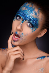 Beauty girl portrait with creative make up