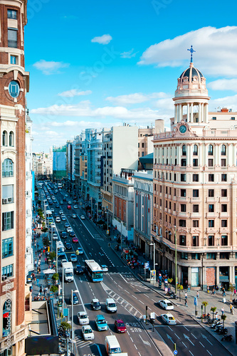Fotobehang Madrid Gran via at morning