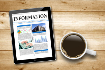 Tablet PC mit Information