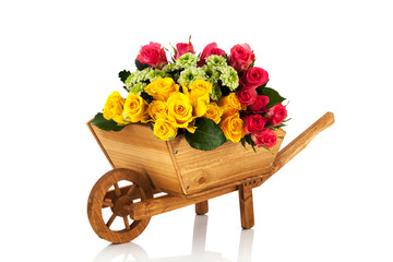 Wheel barrow flowers