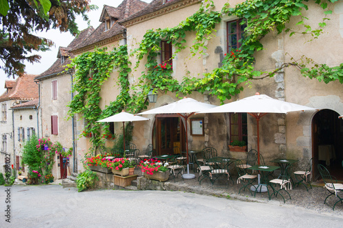 French terrace in village