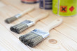 Paint brushes on wooden planks