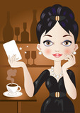 coffee card-donna elegante al bar