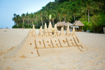 Sand castle on Boracay, Philippines