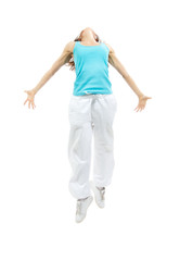 Modern sport girl woman dancer jumping pose