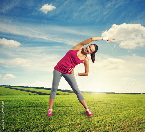 woman doing warm-up at outdoor
