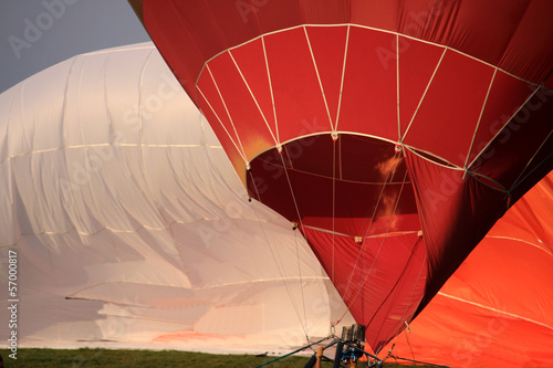 Hot air balloon preparing for launch