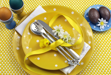 Yellow theme Easter dining table place setting