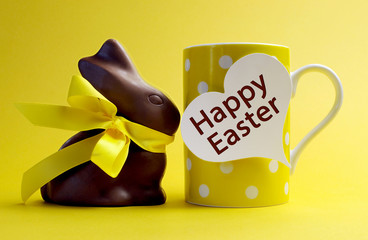 Yellow theme polka dot coffee mug with chocolate bunny