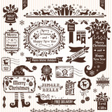 Set of christmas decorative elements (monochrome)