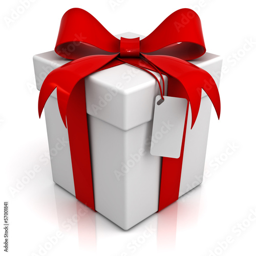 Gift box with red ribbon bow and blank tag isolated on white