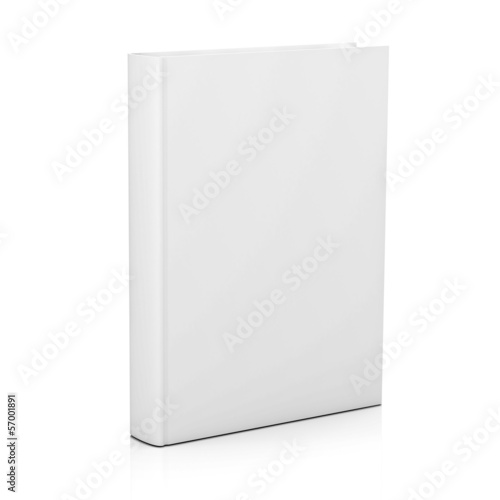 Blank book cover over white background with reflection