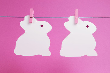 Pink theme Easter bunny bunting from pegs on a line