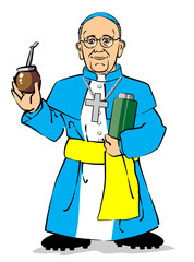 Pope Francis I drinking a mate