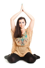 Beautiful woman doing yoga isolated on white background.