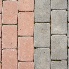 Tiled with paving stone bricks path