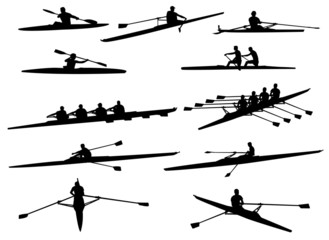 rowing silhouettes - vector