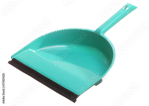 Green dustpan isolated - housework cleaning