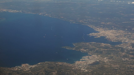 Ports of Koper in  Slovenia and Trieste in Italy aerial view