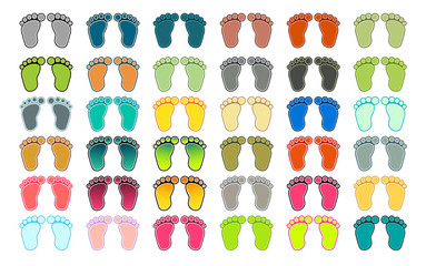 Set of 36 pairs of footprints in different colors