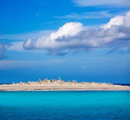 Formentera island Illetes Illetas with stone sculptures