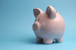 Pretty pink piggy bank against a blue background