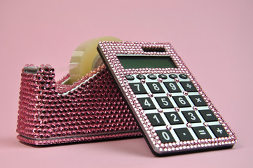 Pretty Pink Bling Office Desk Accessories